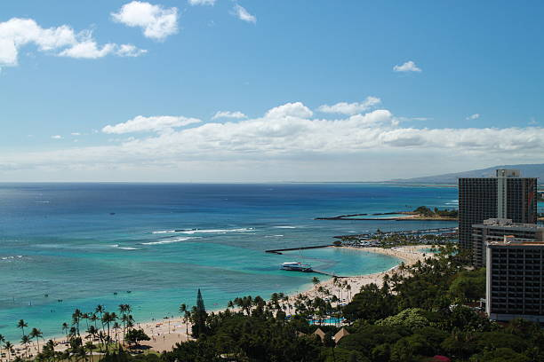 View of Waikiki Beach stock photo