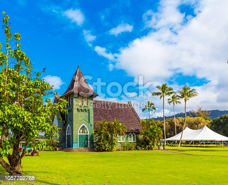 View of Waioli Huiia Church, Kauai, Hawaii. Copy space for text