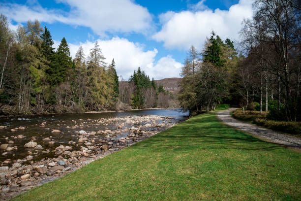 A view of walk path and Dee river near Balmoral Castle, Aberdeenshire, Scotland stock photo