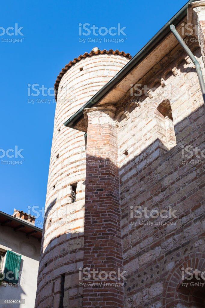view of wall and tower Santo Lorenzo Church stock photo
