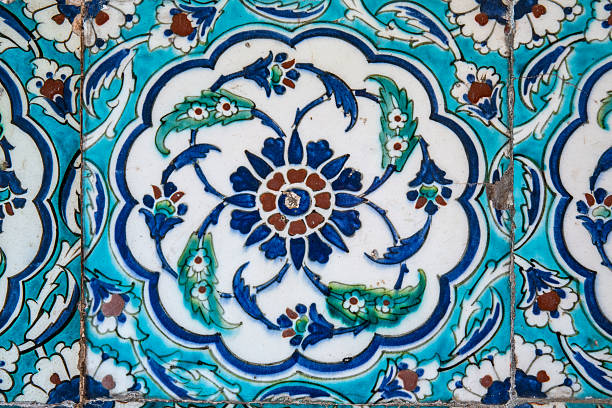View of wall tiles in Blue Mosque, Istanbul stock photo