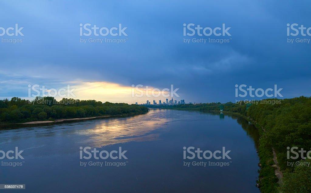 View of Warsaw from Siekierkowski bridge stock photo