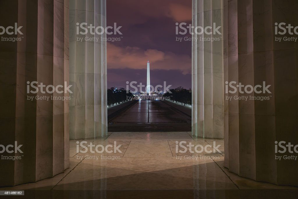 View of Washington Monument from Lincoln Memorial stock photo