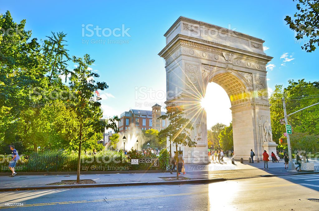 View of Washington Square Park in New York City stock photo