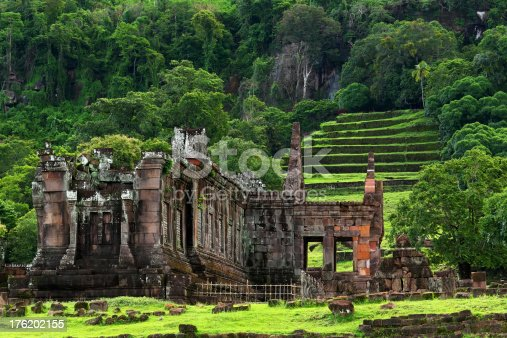 View of Vat Phou or Wat Phu is the UNESCO world heritage site in  Champasak, Southern Laos