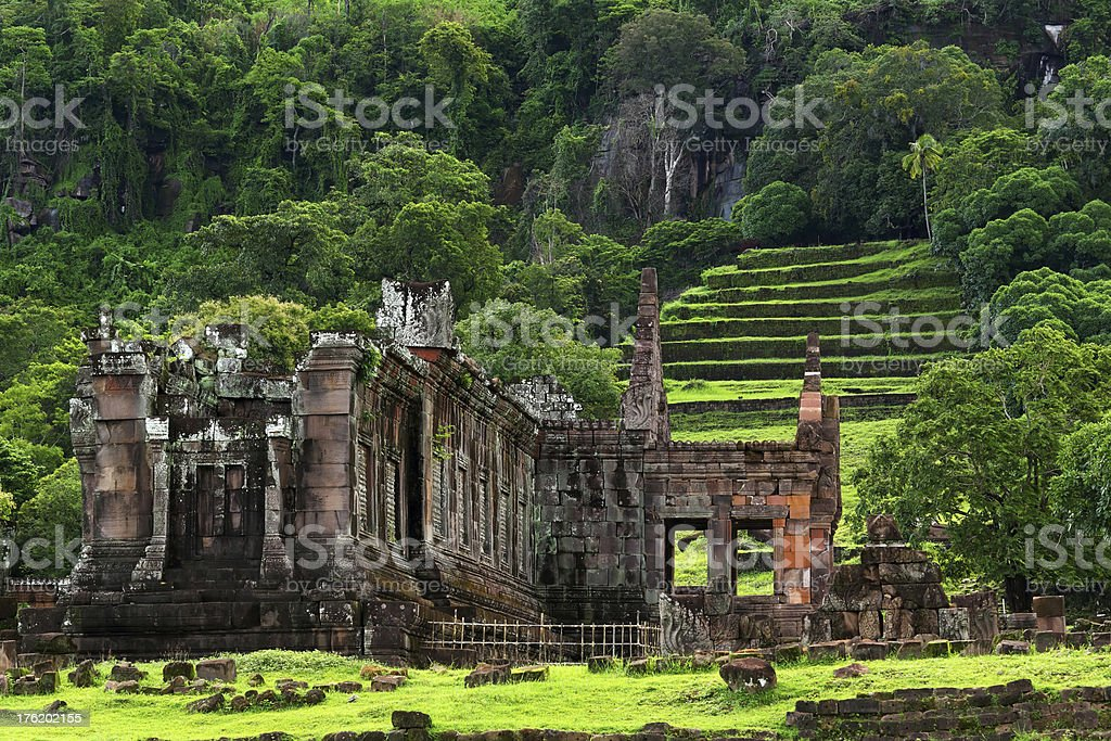 A view of Wat Phuin in Champasak, Southern Laos stock photo