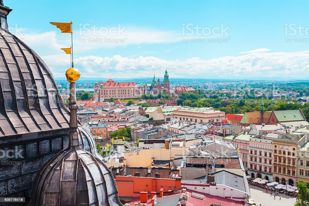 View of Wawel Castle from Church St. Mary in the stock photo