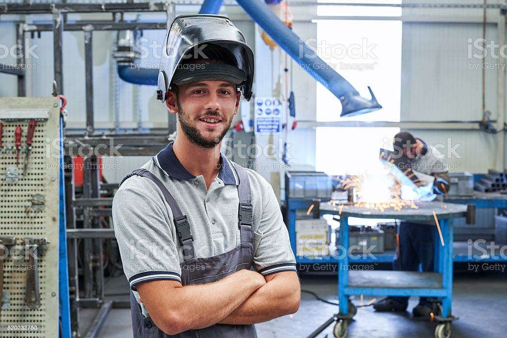 View of welder stock photo