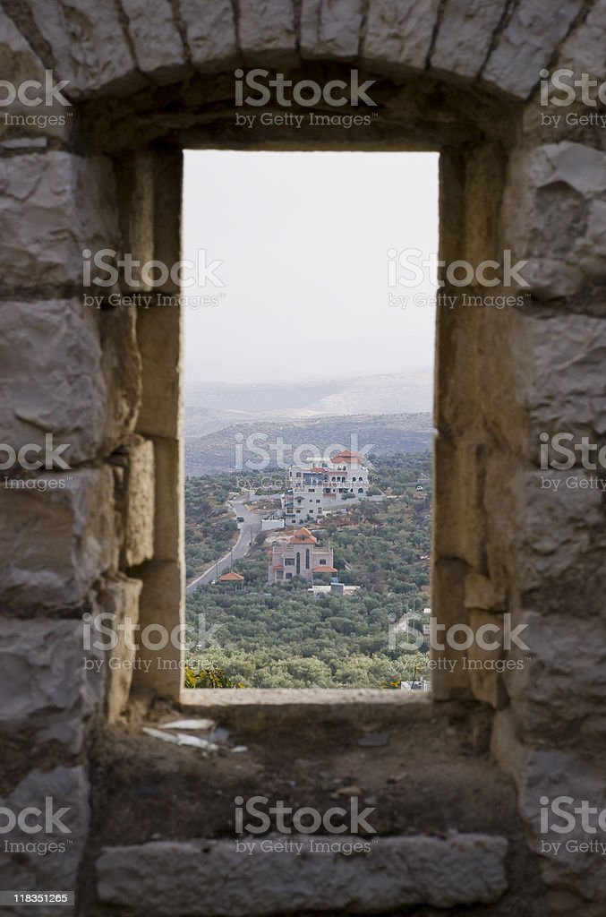 Window on Palestine in the West Bank village of Taybeh stock photo