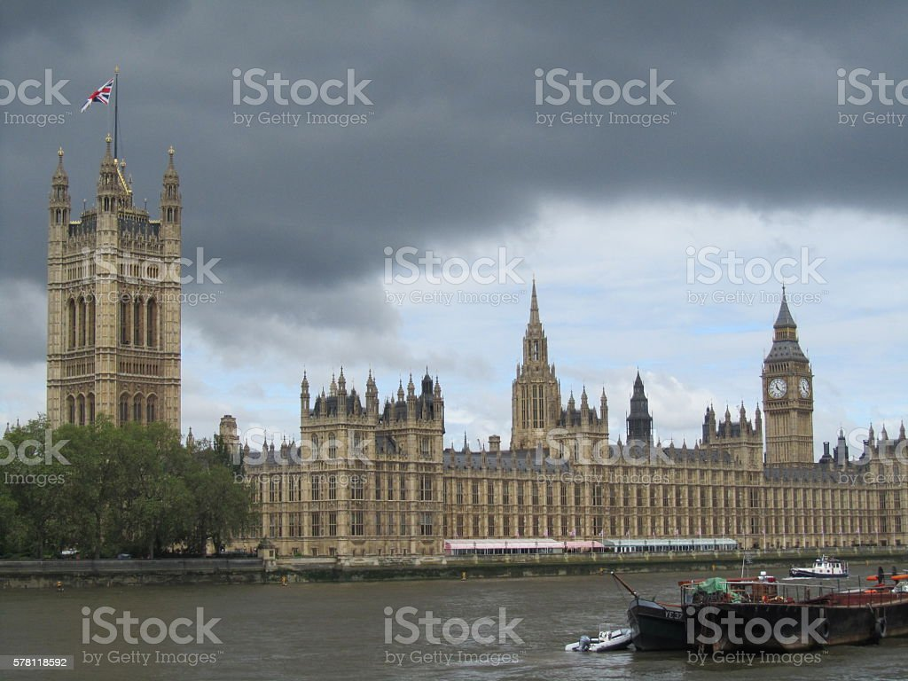 View of Westminster from Lambeth Bridge stock photo