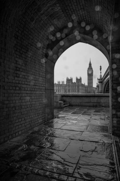 View of Westminster in the rain stock photo