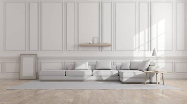 Vista del salón blanco en estilo clásico con muebles en piso laminado brillante. Perspectiva de la arquitectura de diseño minimalista. Render 3D. - foto de stock