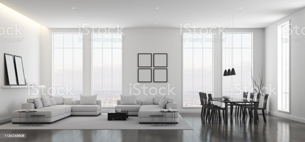 View Of White Living Room In Minimal Style With Black And White