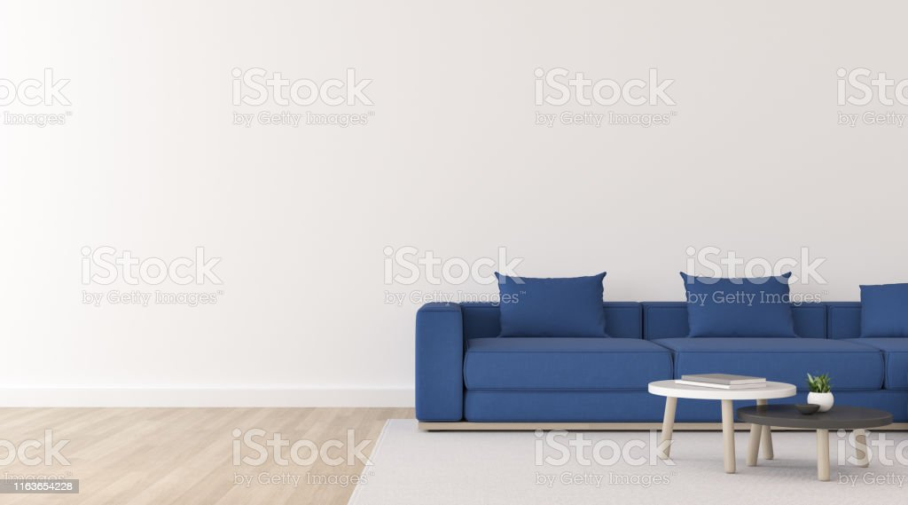 View Of White Living Room In Minimal Style With Deep Blue Fabric Sofa And Small Side Table On Wood Laminate Floorperspective Of Scandinavian Interior With Hanging Lamp Design 3d Rendering Stock Photo
