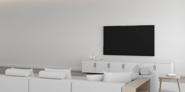 Vista de la sala de estar blanca en un estilo minimalista con muebles en suelo laminado brillante. Diseño interior con TV y gabinete. en pared blanca, renderizado 3D. - foto de stock