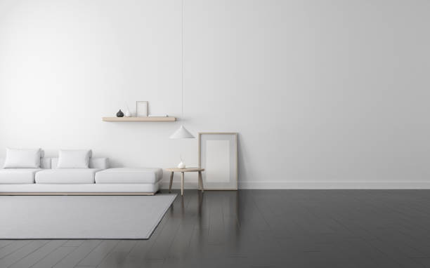 Vista de sala de estar blanca de estilo escandinavo con muebles de madera en piso laminado oscuro. Perspectiva de la arquitectura de diseño minimalista. Render 3D. - foto de stock