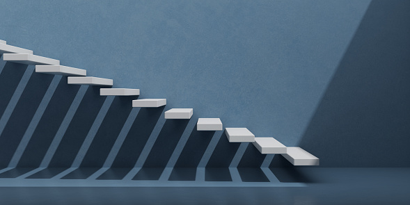 View of white stairs on blue wall background,Concept of the way to success. 3D rendering