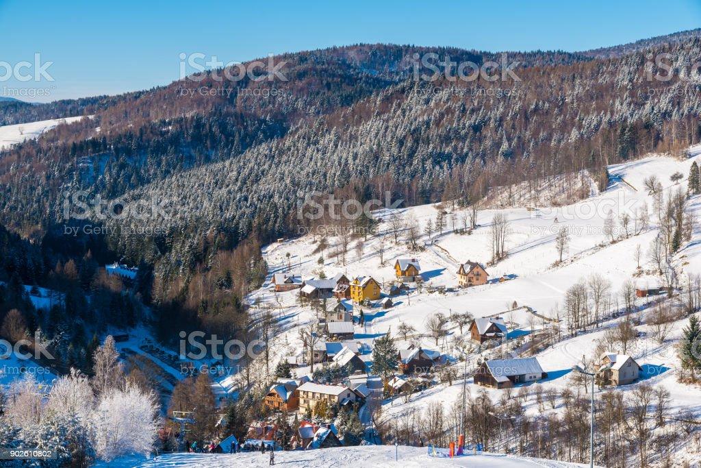 View of Wierchomla village from ski slope, Beskid Sadecki Mountains, Poland stock photo