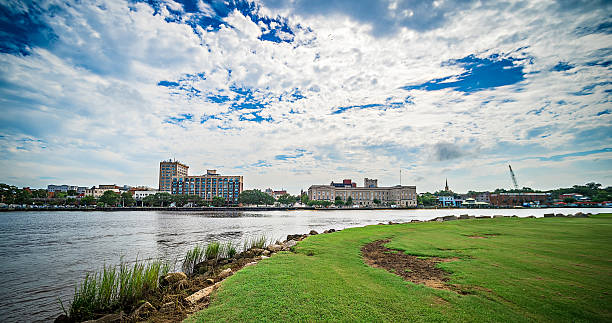 View of Wilmington North Carolina from across the river stock photo