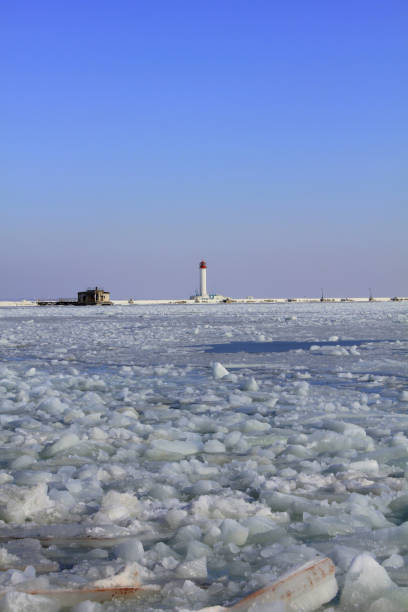 View of winter lighthouse