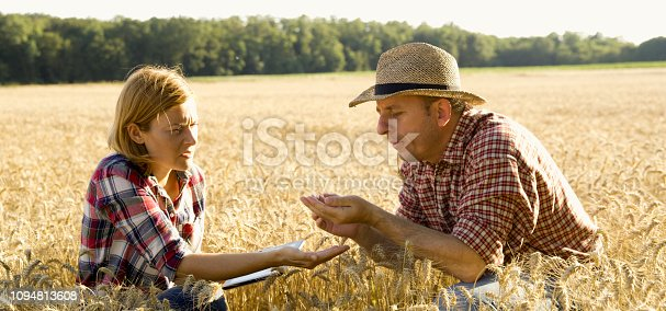 1094815168 istock photo View of woman and man sitting on field 1094813608