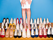 View of a woman wearing high heels in a store