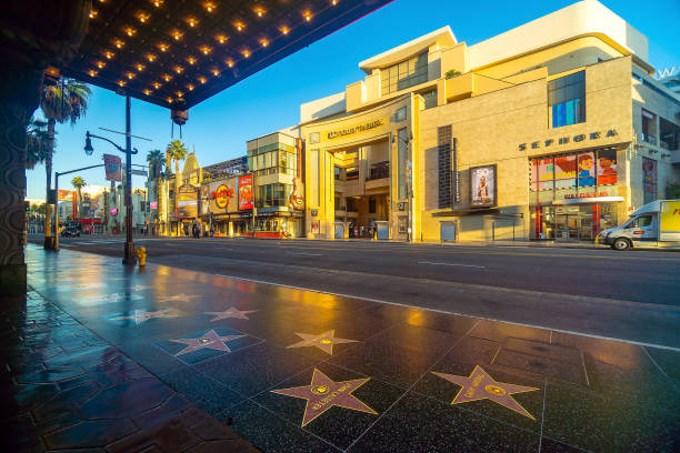 View of world famous Hollywood Walk of Fame at Hollywood Boulevard district in Los Angeles, California stock photo