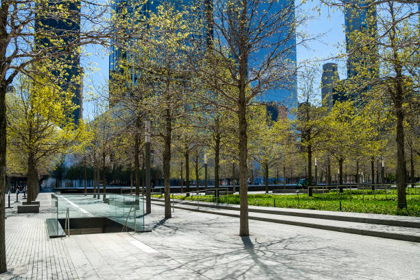 Blick auf den World Trade Center Memorial Park in Lower Manhattan. – Foto