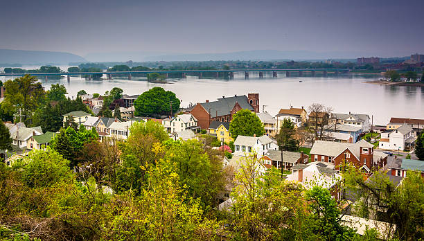 View of Wormleysburg and the Susquehanna River from Negley Park, stock photo