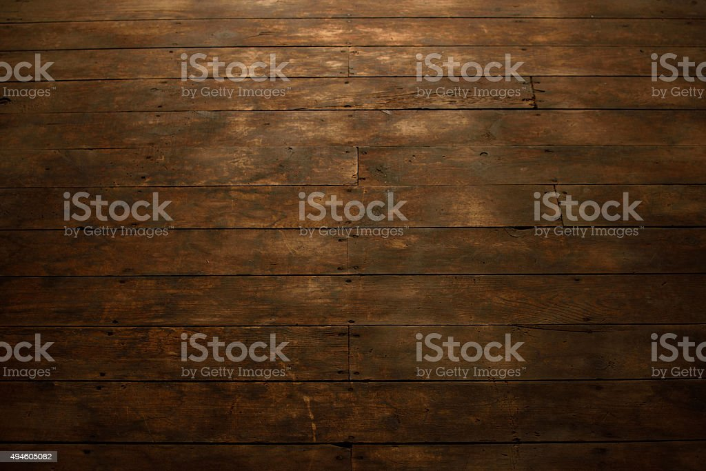 View of Worn Wood Flooring stock photo