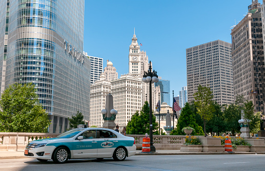 View of Wrigley building and Trump Tower in the Chicago Downtown, Illinois, USA