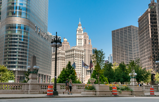 View of Wrigley building and Trump Tower in the Chicago Downtown, USA