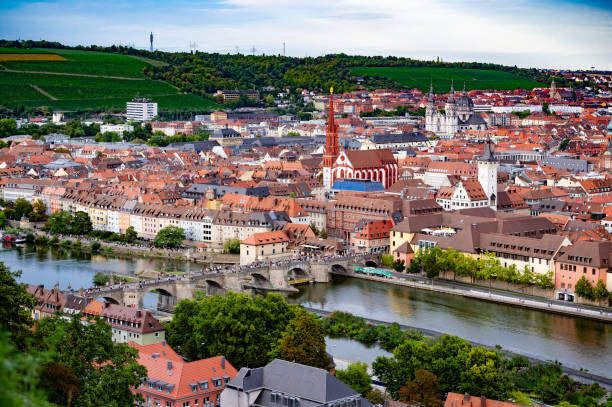 View of Wurzburg and Main River from Marienberg Fortress stock photo
