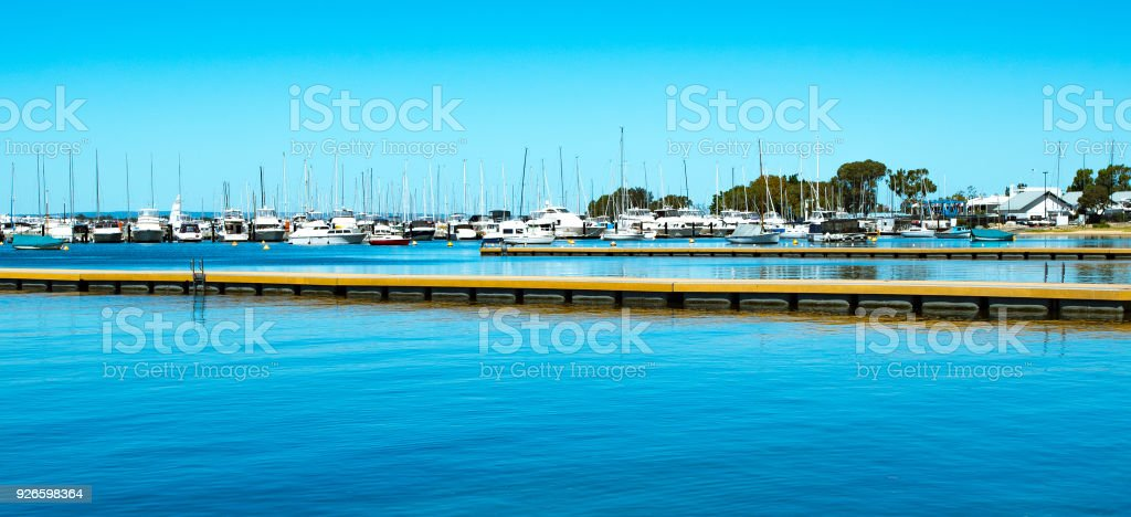 view of yacht club with swimming platforms in Perth stock photo