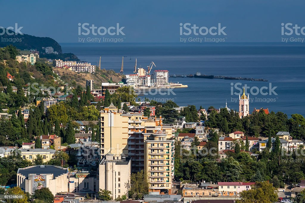 View of Yalta from the cable car stock photo