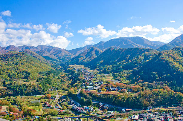 View of Yamadera valley, Miyagi, Japan Yamadera city valley Viewed from the Godaido Hall of the Yamadera temple, Yamagata prefecture, Japan. satoyama scenery stock pictures, royalty-free photos & images