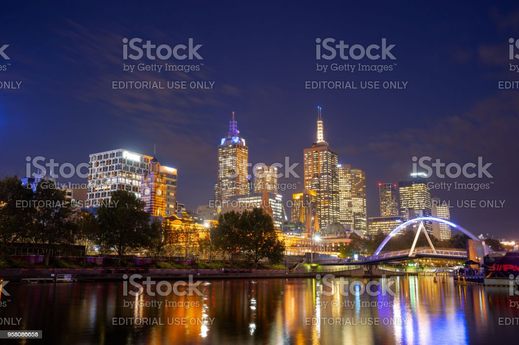 View of Yarra river and Melbourne skyline from Princes Bridge, is the vibrant heart and soul of Melbourne's tourism industry. Australia: 09/04/18 stock photo