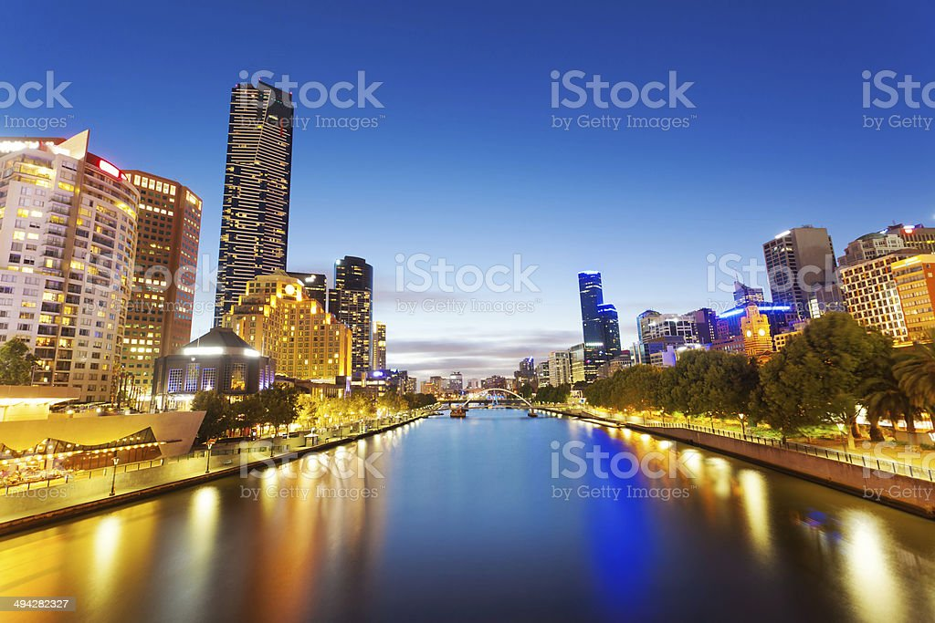 View of Yarra river in Melbourne at night stock photo