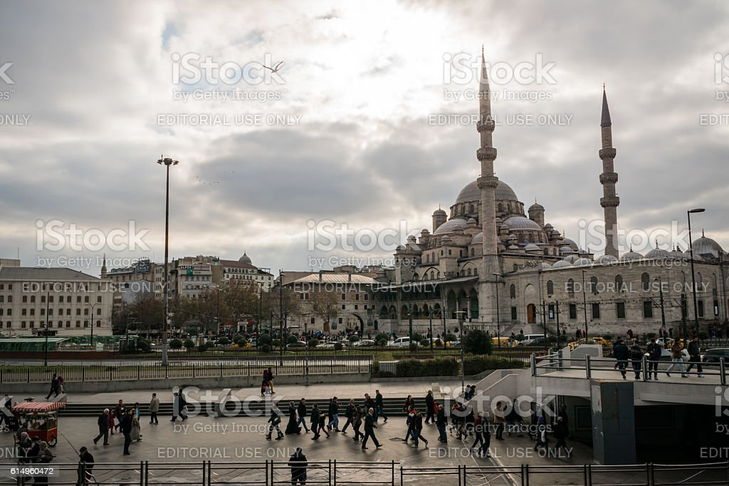 View of Yeni Cami, New Mosque, Istanbul, Turkey stock photo