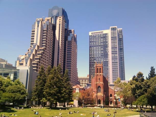 View of Yerba Buena Gardens stock photo