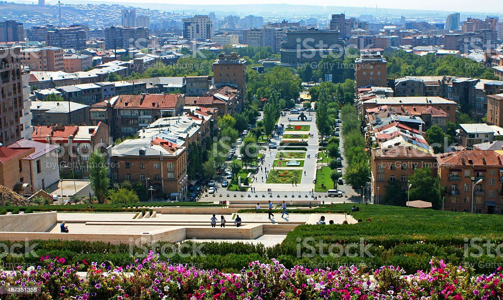 View of Yerevan from Cascade. stock photo