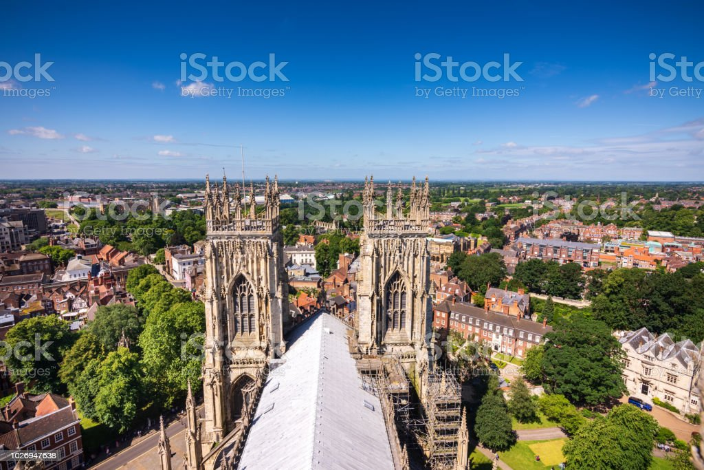 View of York from on top York Minster Cathedral tower in York, UK stock photo