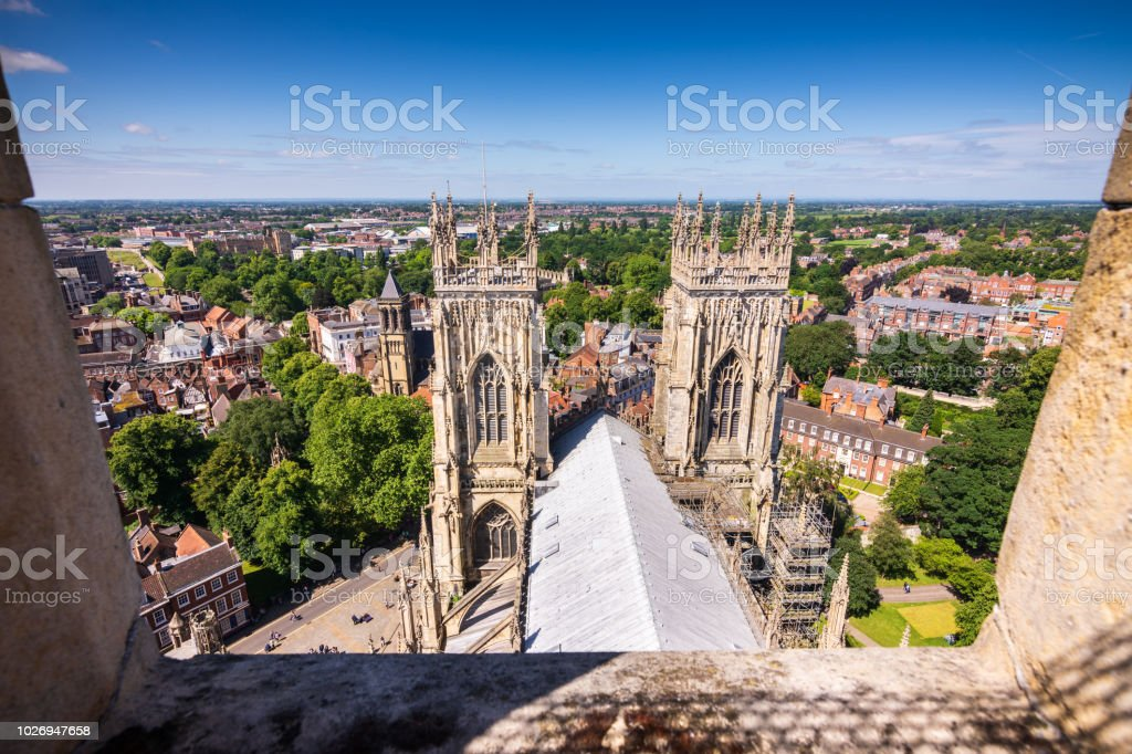 View of York from on top York Minster Cathedral tower in York, UK - Royalty-free Ancient Stock Photo