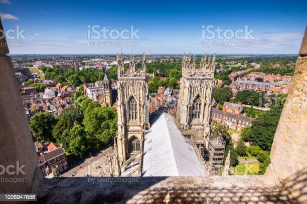 View Of York From On Top York Minster Cathedral Tower In York Uk Stock Photo - Download Image Now