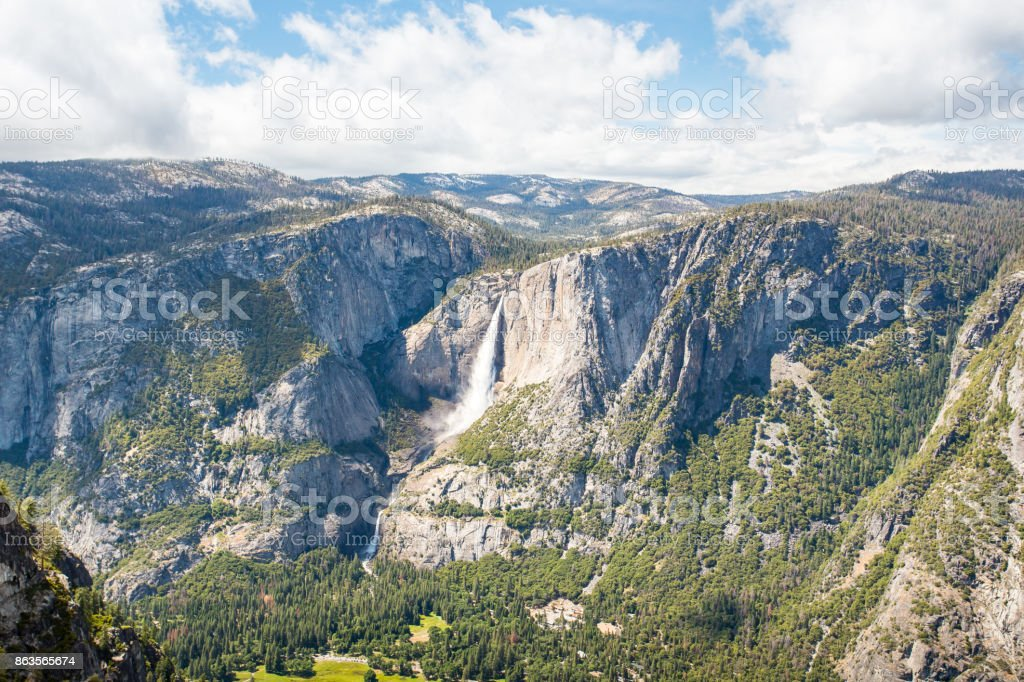 View of Yosemite Falls from Glacier Point, Yosemite National Park stock photo