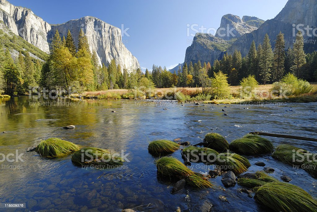 A view of Yosemite Valley in autumn stock photo