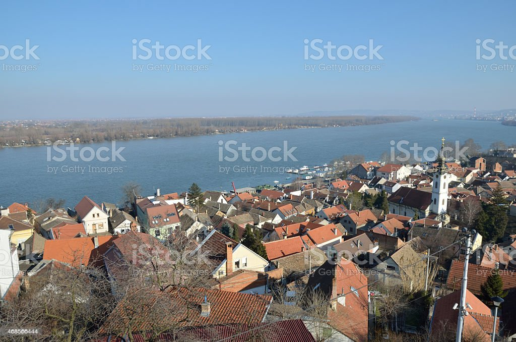 View of Zemun and river Danube, Belgrade. stock photo
