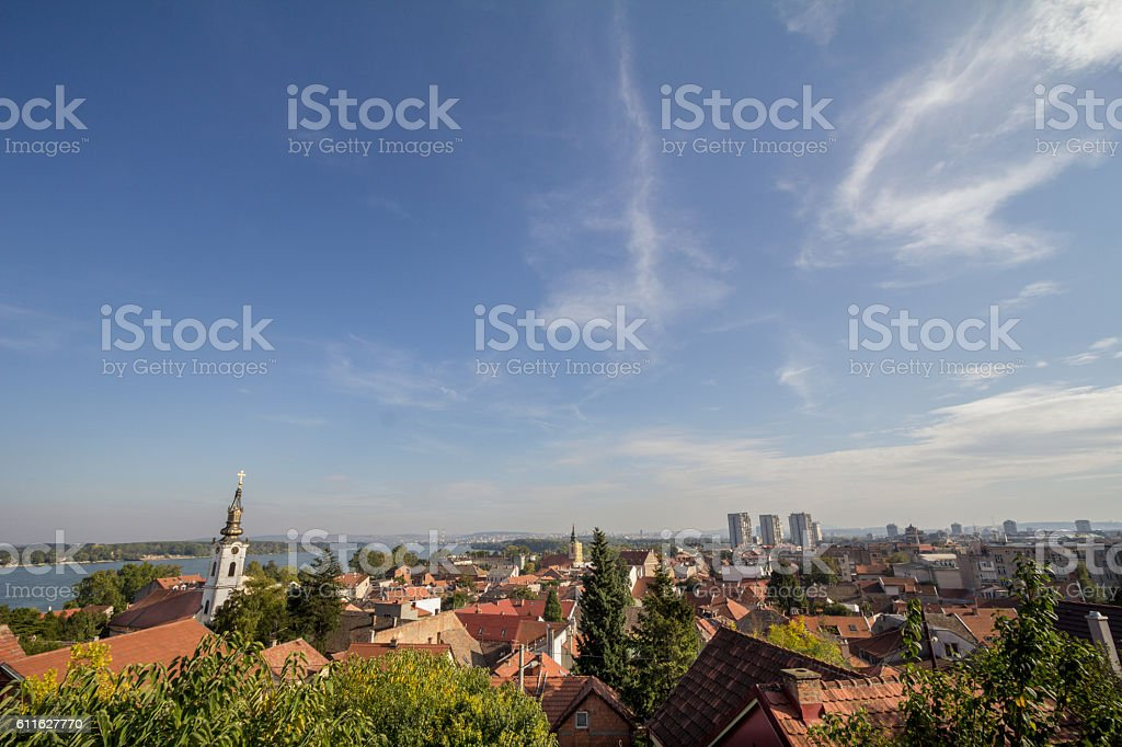 View of Zemun District from Gardos Tower in Belgrade, Serbia stock photo