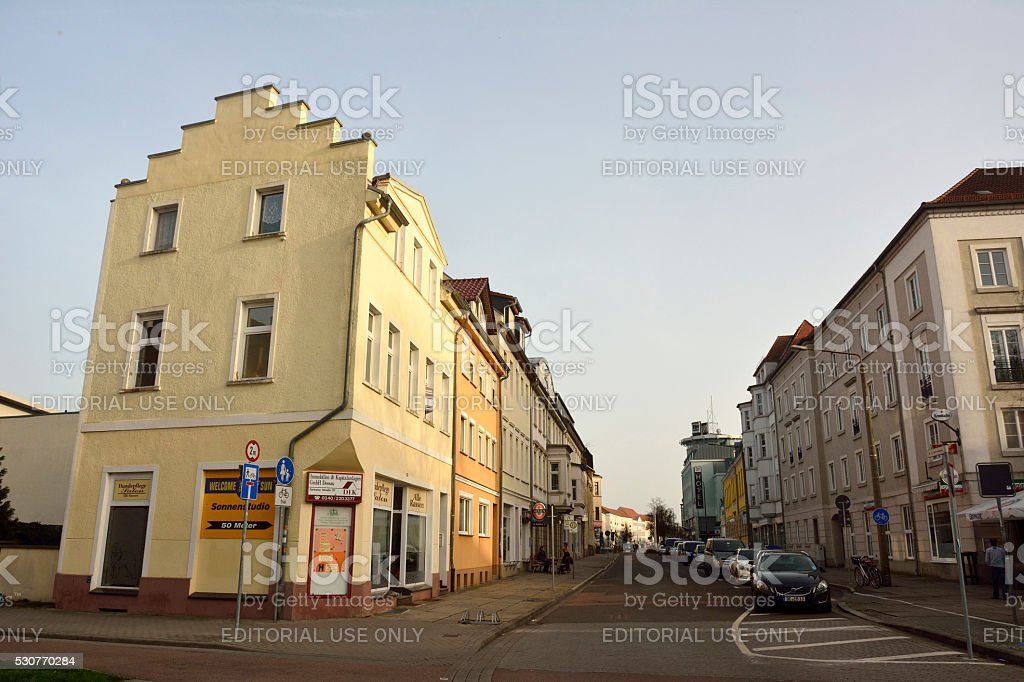 View of Zerbster strasse in Dessau-Rosslau stock photo