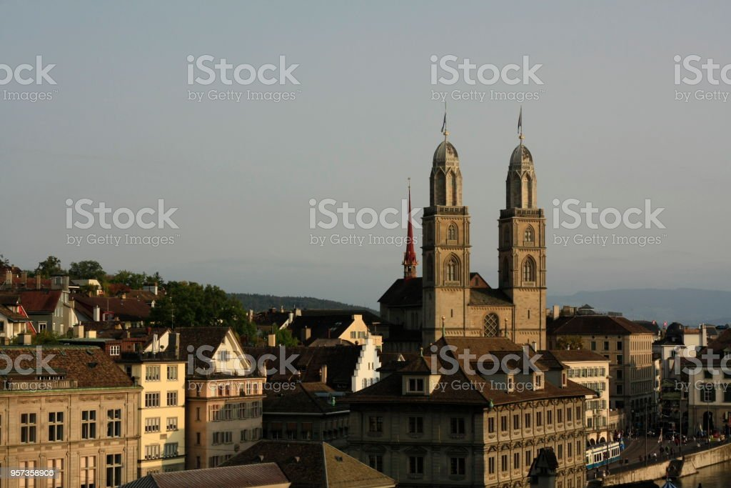 view of Zurich old city, Switzerland, including church towers and historical buildings on a sunny afternoon. stock photo